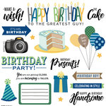 Scrapbook Customs - His Birthday Collection - 12 x 12 Cardstock Stickers - Elements