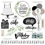 Scrapbook Customs - Her Birthday Collection - 12 x 12 Cardstock Stickers - Elements