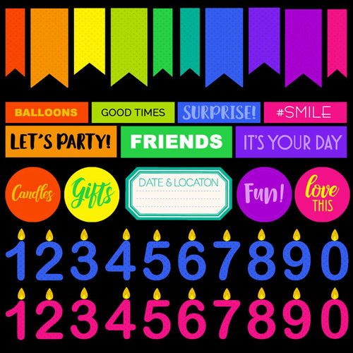 Scrapbook Customs - Neon Birthday Collection - 12 x 12 Cardstock Stickers - 2