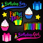 Scrapbook Customs - Neon Birthday Collection - 12 x 12 Cardstock Stickers - 3