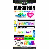 Scrapbook Customs - Neon Sports Collection - Marathon - Cardstock Stickers
