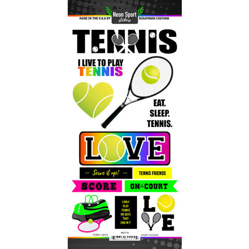 Scrapbook Customs - Neon Sports Collection - Tennis - Cardstock Stickers