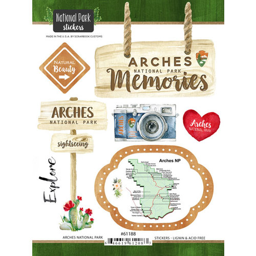 Scrapbook Customs - United States National Parks Collection - Cardstock Stickers - Watercolor - Arches