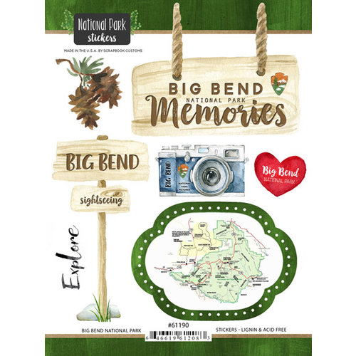 Scrapbook Customs - United States National Parks Collection - Cardstock Stickers - Watercolor - Big Bend