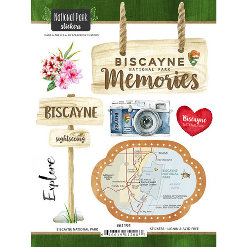 Scrapbook Customs - United States National Parks Collection - Cardstock Stickers - Watercolor - Biscayne