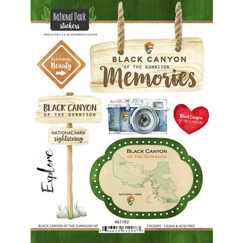 Scrapbook Customs - United States National Parks Collection - Cardstock Stickers - Watercolor - Black Canyon