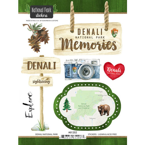 Scrapbook Customs - United States National Parks Collection - Cardstock Stickers - Watercolor - Denali