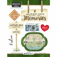 Scrapbook Customs - United States National Parks Collection - Cardstock Stickers - Watercolor - Gateway Arch