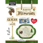 Scrapbook Customs - United States National Parks Collection - Cardstock Stickers - Watercolor - Glacier