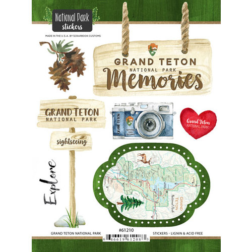 Scrapbook Customs - United States National Parks Collection - Cardstock Stickers - Watercolor - Grand Teton