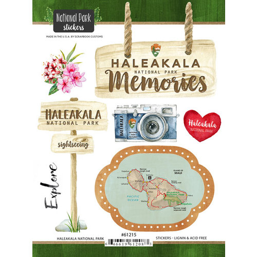 Scrapbook Customs - United States National Parks Collection - Cardstock Stickers - Watercolor - Haleakala