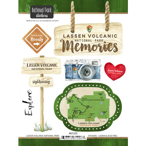 Scrapbook Customs - United States National Parks Collection - Cardstock Stickers - Watercolor - Lassen Volcanic