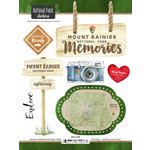 Scrapbook Customs - United States National Parks Collection - Cardstock Stickers - Watercolor - Mount Rainier