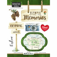 Scrapbook Customs - United States National Parks Collection - Cardstock Stickers - Watercolor - Olympic