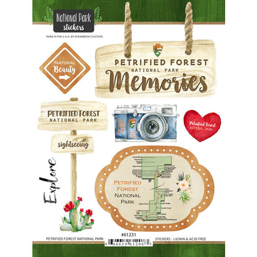 Scrapbook Customs - United States National Parks Collection - Cardstock Stickers - Watercolor - Petrified Forest