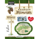 Scrapbook Customs - United States National Parks Collection - Cardstock Stickers - Watercolor - Redwood