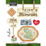 Scrapbook Customs - United States National Parks Collection - Cardstock Stickers - Watercolor - Zion