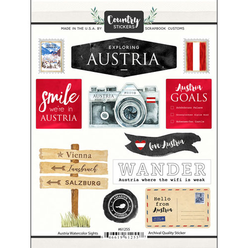 Scrapbook Customs - Cardstock Stickers - Austria Watercolor