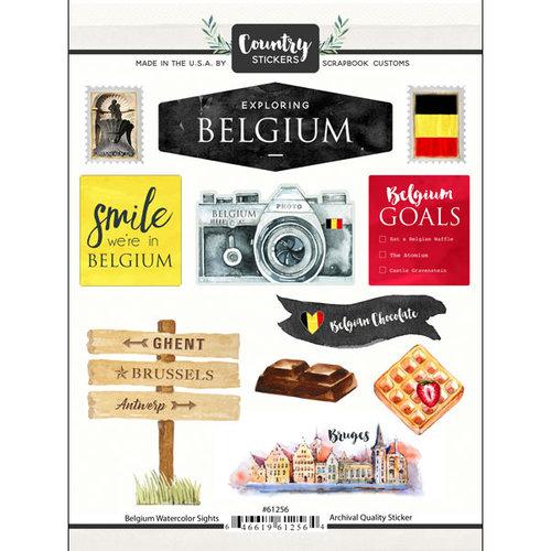 Scrapbook Customs - Cardstock Stickers - Belgium Watercolor