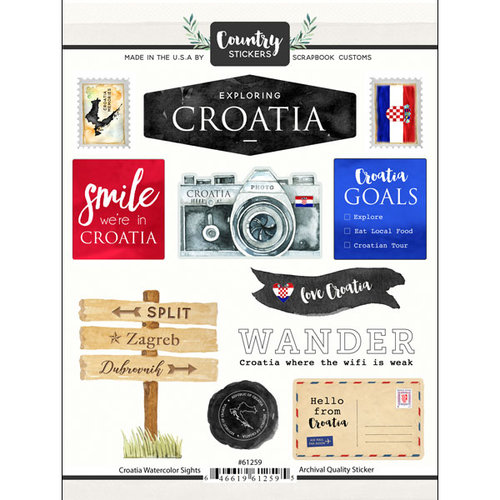 Scrapbook Customs - Cardstock Stickers - Croatia Watercolor