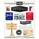 Scrapbook Customs - Cardstock Stickers - Czech Republic Watercolor