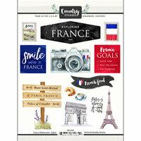 Scrapbook Customs - Cardstock Stickers - France Watercolor