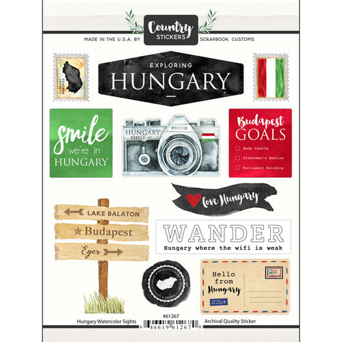 Scrapbook Customs - Cardstock Stickers - Hungary Watercolor