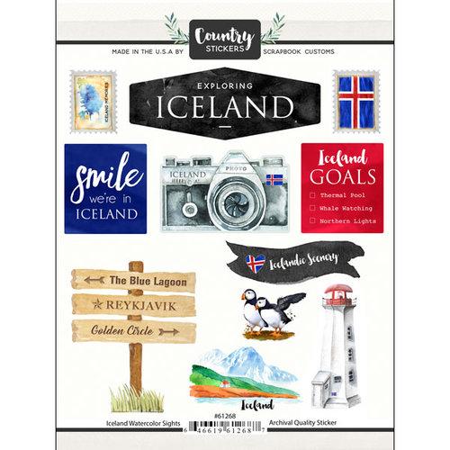 Scrapbook Customs - Cardstock Stickers - Iceland Watercolor