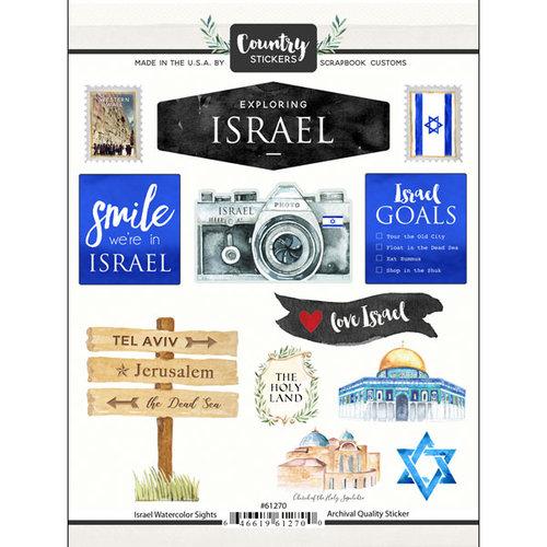Scrapbook Customs - Cardstock Stickers - Israel Watercolor