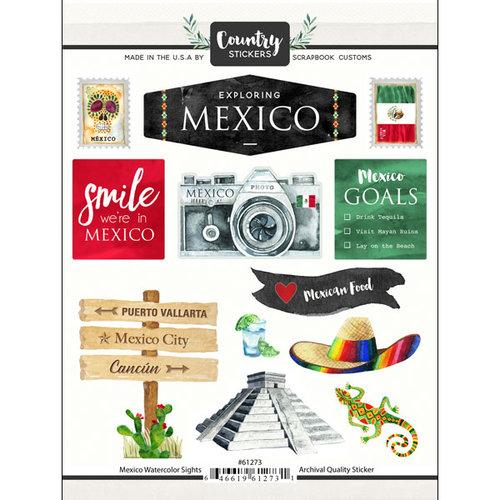 Scrapbook Customs - Cardstock Stickers - Mexico Watercolor