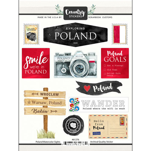 Scrapbook Customs - Cardstock Stickers - Poland Watercolor