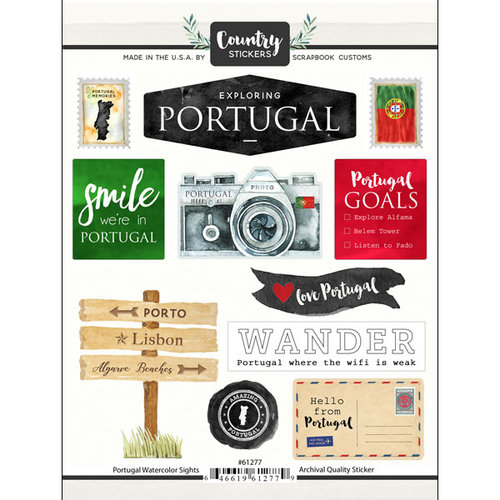 Scrapbook Customs - Cardstock Stickers - Portugal Watercolor