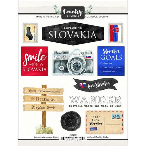 Scrapbook Customs - Cardstock Stickers - Slovakia Watercolor