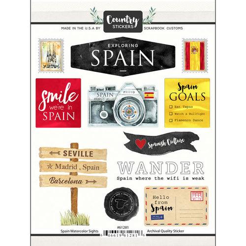 Scrapbook Customs - Cardstock Stickers - Spain Watercolor
