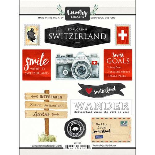 Scrapbook Customs - Cardstock Stickers - Switzerland Watercolor