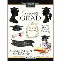 Scrapbook Customs - Cardstock Stickers - Graduation Watercolor