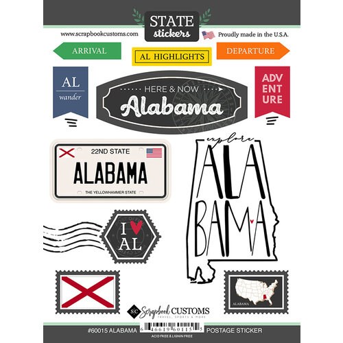 Scrapbook Customs - Postage Map Collection - Cardstock Stickers - Alabama