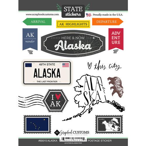 Scrapbook Customs - Postage Map Collection - Cardstock Stickers - Alaska