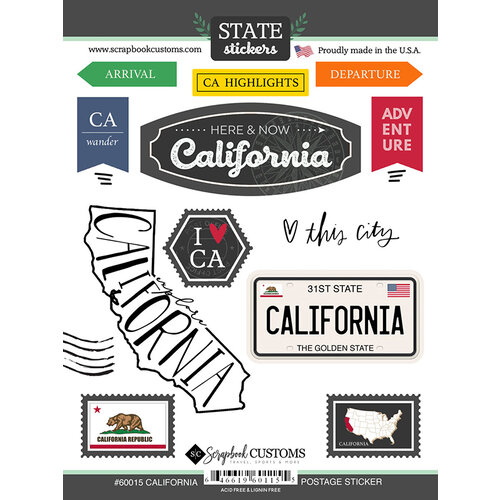 Scrapbook Customs - Postage Map Collection - Cardstock Stickers - California