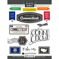 Scrapbook Customs - Postage Map Collection - Cardstock Stickers - Connecticut