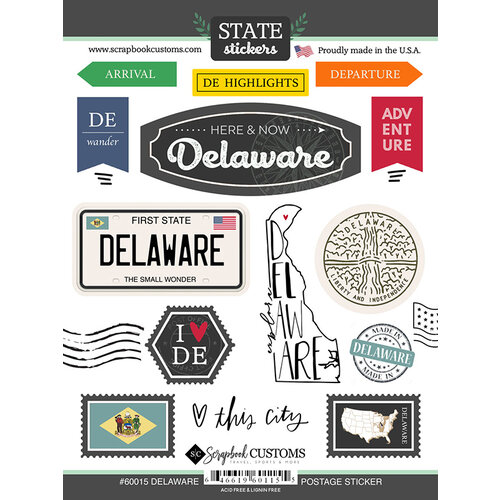 Scrapbook Customs - Postage Map Collection - Cardstock Stickers - Delaware