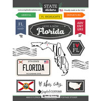 Scrapbook Customs - Postage Map Collection - Cardstock Stickers - Florida