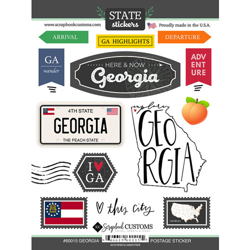 Scrapbook Customs - Postage Map Collection - Cardstock Stickers - Georgia