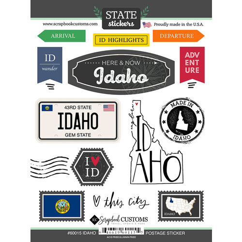 Scrapbook Customs - Postage Map Collection - Cardstock Stickers - Idaho