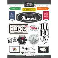 Scrapbook Customs - Postage Map Collection - Cardstock Stickers - Illinois
