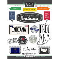 Scrapbook Customs - Postage Map Collection - Cardstock Stickers - Indiana