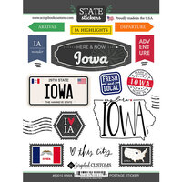 Scrapbook Customs - Postage Map Collection - Cardstock Stickers - Iowa