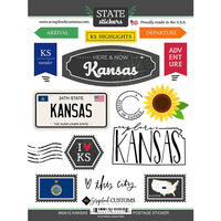 Scrapbook Customs - Postage Map Collection - Cardstock Stickers - Kansas