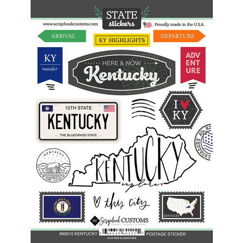 Scrapbook Customs - Postage Map Collection - Cardstock Stickers - Kentucky
