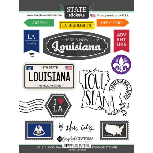 Scrapbook Customs - Postage Map Collection - Cardstock Stickers - Louisiana